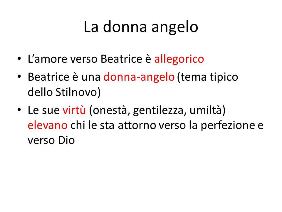 La donna angelo L'amore verso Beatrice è allegorico