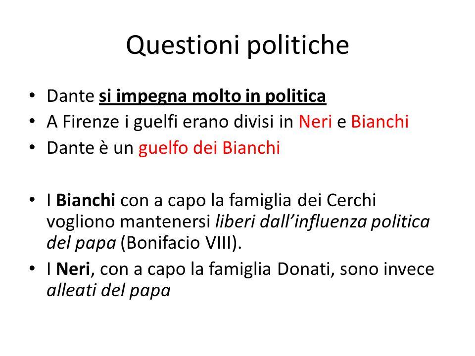 Questioni politiche Dante si impegna molto in politica