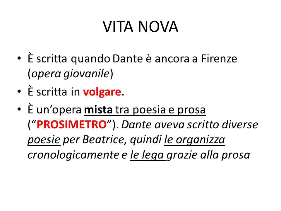 VITA NOVA È scritta quando Dante è ancora a Firenze (opera giovanile)