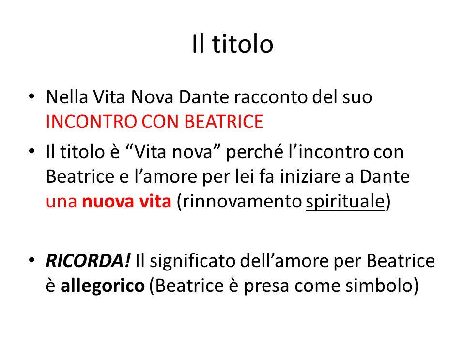 Il titolo Nella Vita Nova Dante racconto del suo INCONTRO CON BEATRICE