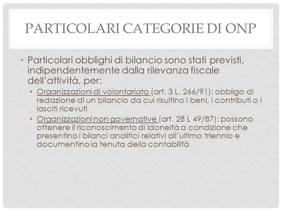Particolari categorie di ONP