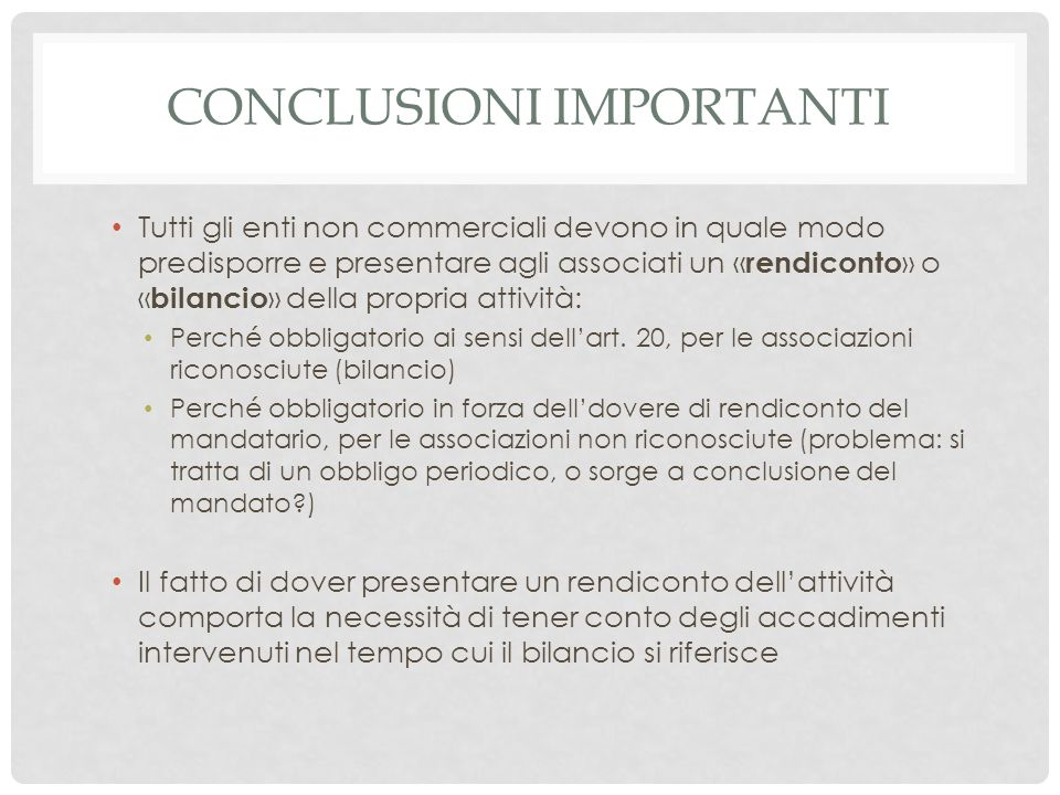 conclusionI IMPORTANTI