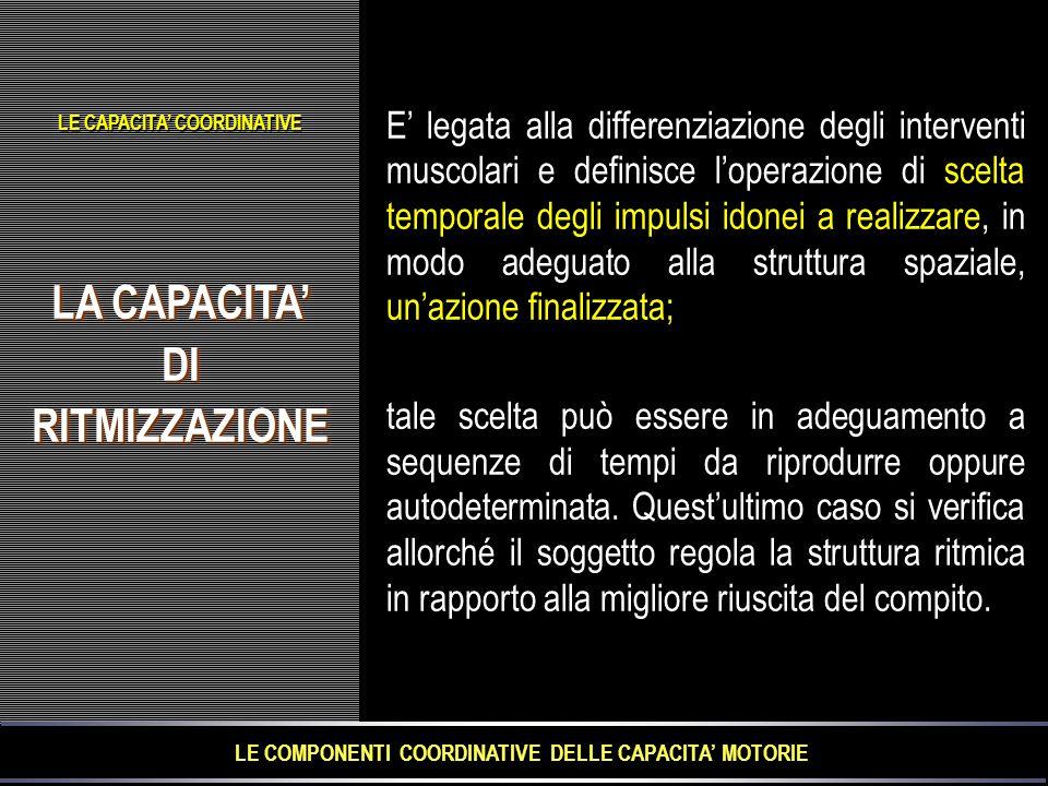 LE COMPONENTI COORDINATIVE DELLE CAPACITA' MOTORIE