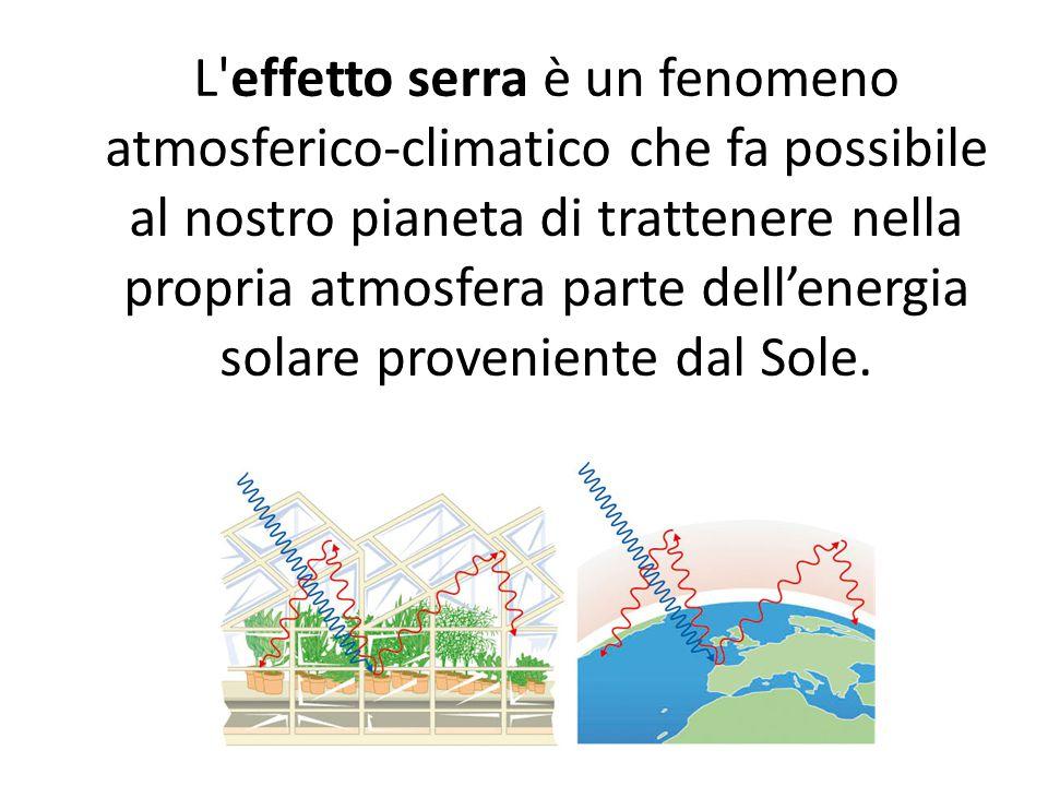 L effetto serra è un fenomeno atmosferico-climatico che fa possibile al nostro pianeta di trattenere nella propria atmosfera parte dell'energia solare proveniente dal Sole.