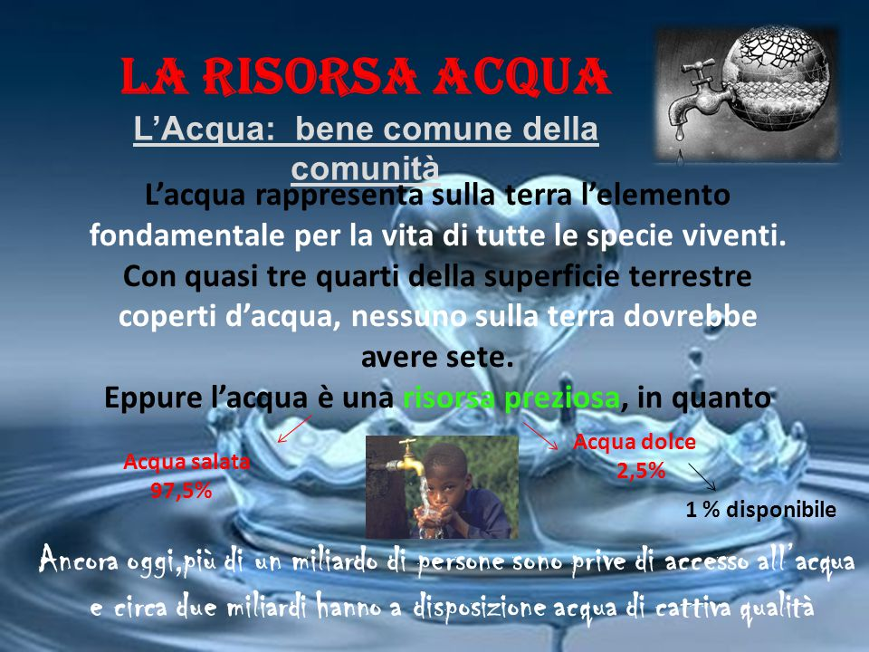 LA RISORSA ACQUA L'Acqua: bene comune della comunità.