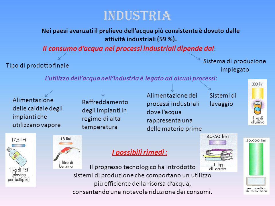Industria Il consumo d'acqua nei processi industriali dipende dal: