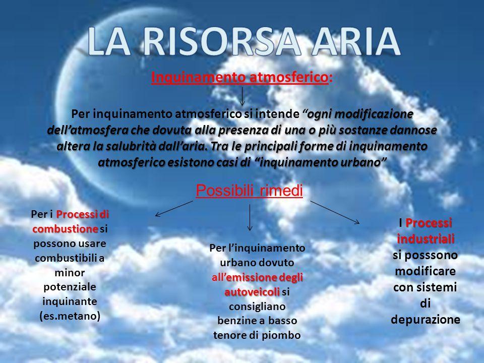 LA RISORSA ARIA Inquinamento atmosferico: Possibili rimedi