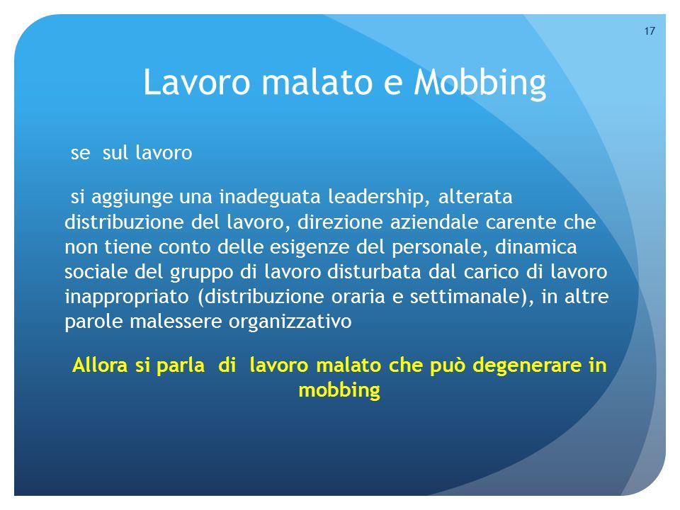 Lavoro malato e Mobbing
