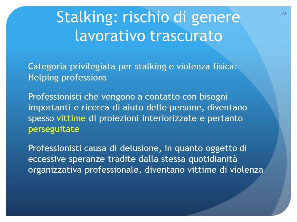 Stalking: rischio di genere lavorativo trascurato