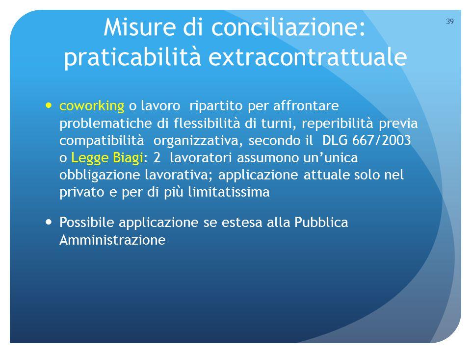 Misure di conciliazione: praticabilità extracontrattuale