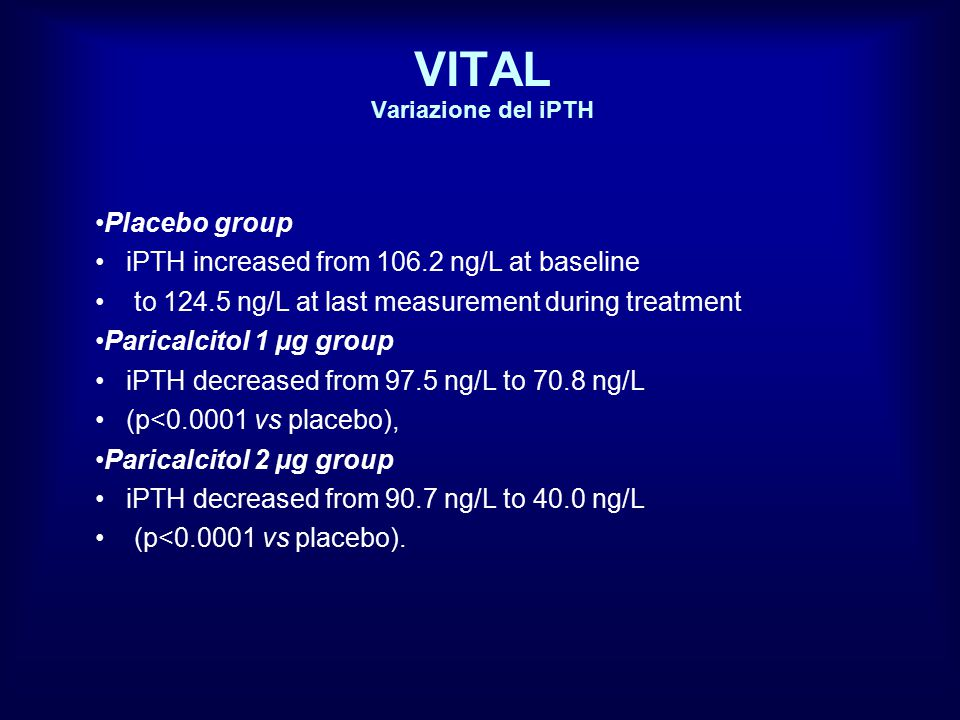 VITAL Variazione del iPTH