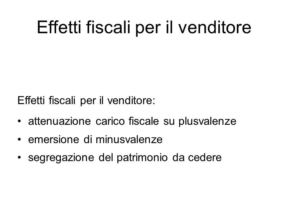 Effetti fiscali per il venditore