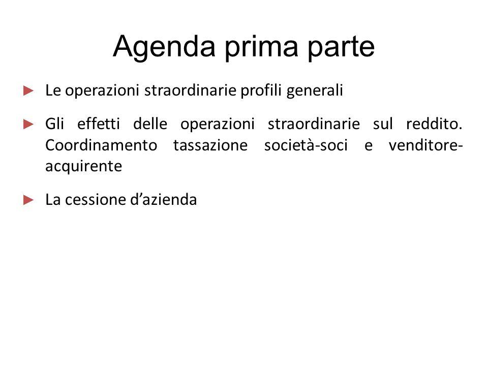 Agenda prima parte Le operazioni straordinarie profili generali