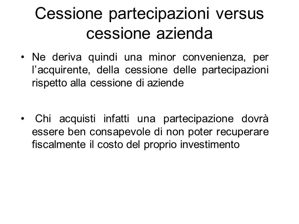 Cessione partecipazioni versus cessione azienda