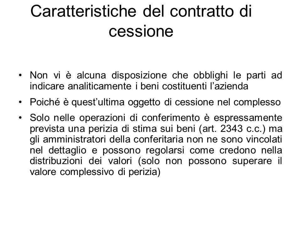Caratteristiche del contratto di cessione