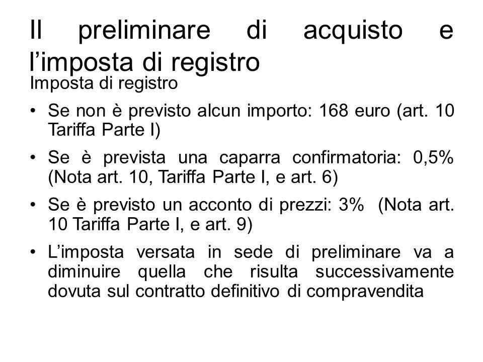 Il preliminare di acquisto e l'imposta di registro
