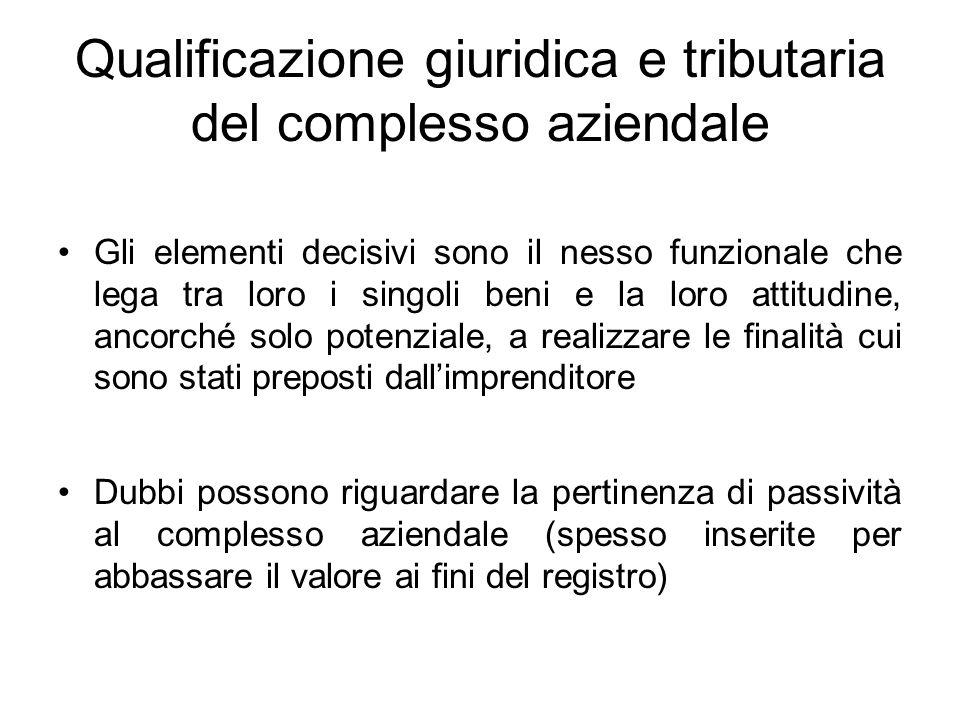 Qualificazione giuridica e tributaria del complesso aziendale
