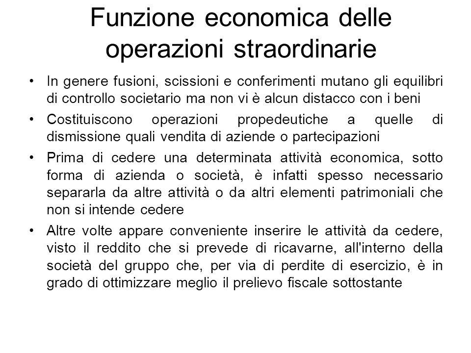 Funzione economica delle operazioni straordinarie