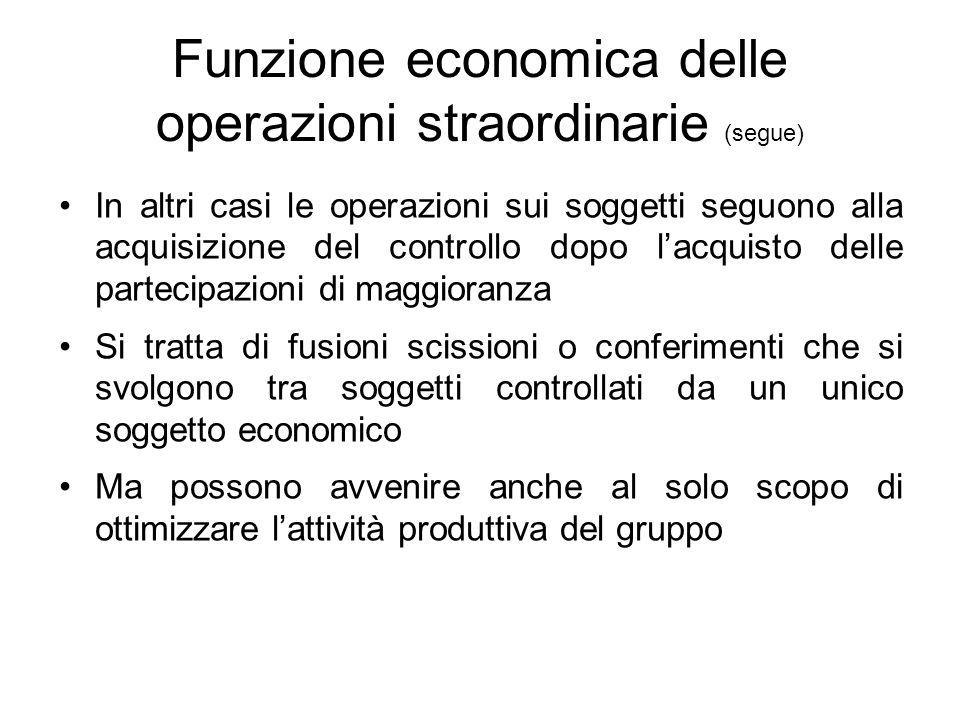 Funzione economica delle operazioni straordinarie (segue)