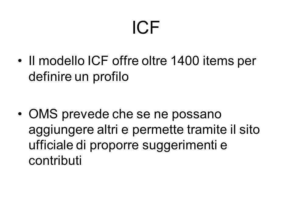 ICF Il modello ICF offre oltre 1400 items per definire un profilo