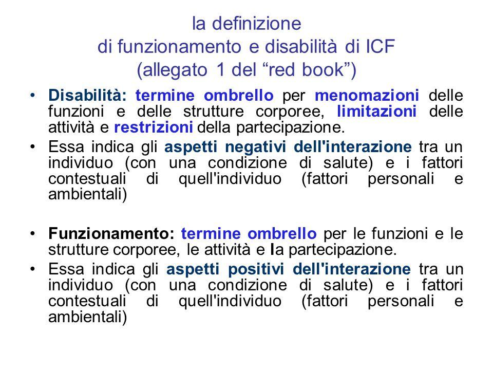 la definizione di funzionamento e disabilità di ICF (allegato 1 del red book )