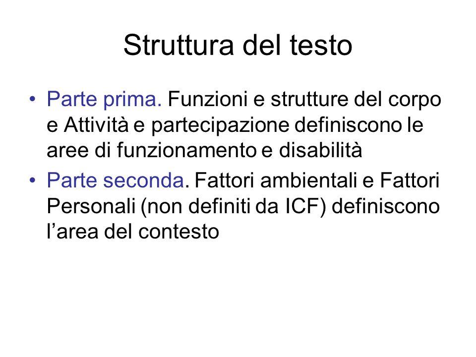 Struttura del testo Parte prima. Funzioni e strutture del corpo e Attività e partecipazione definiscono le aree di funzionamento e disabilità.