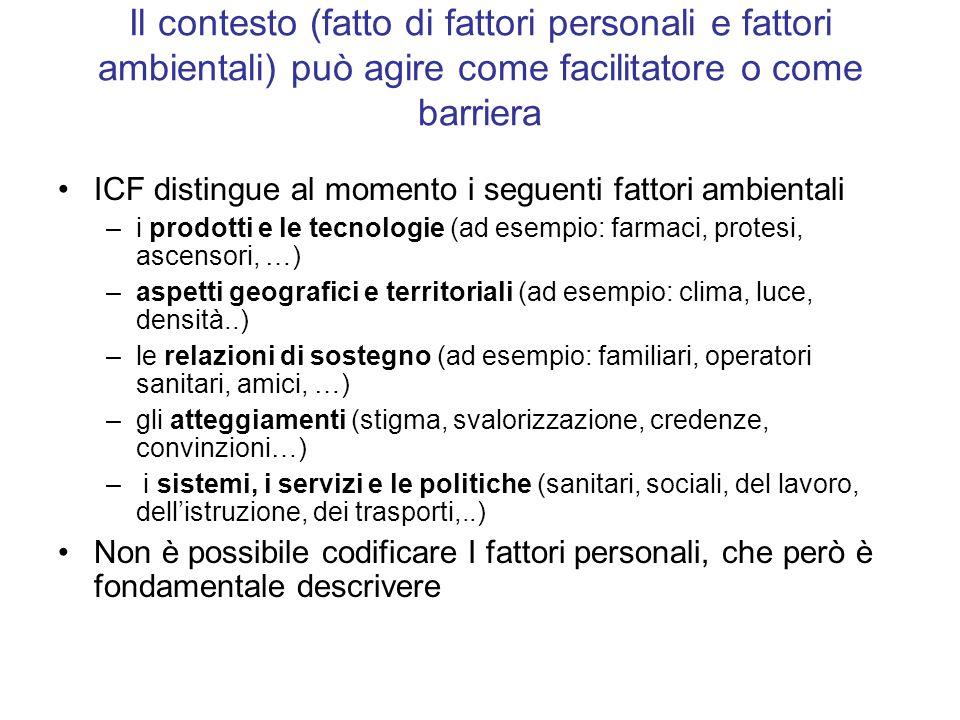 Il contesto (fatto di fattori personali e fattori ambientali) può agire come facilitatore o come barriera