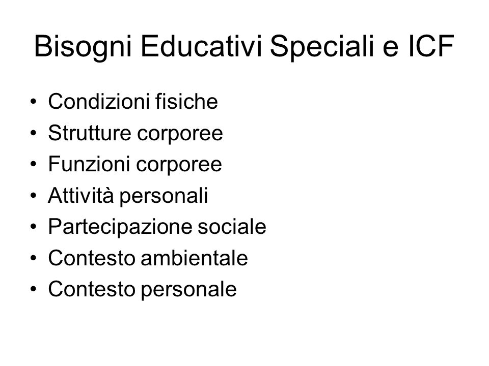 Bisogni Educativi Speciali e ICF