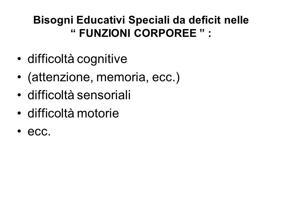 Bisogni Educativi Speciali da deficit nelle FUNZIONI CORPOREE :