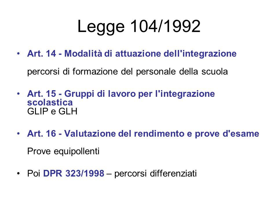 Legge 104/1992 Art. 14 - Modalità di attuazione dell integrazione percorsi di formazione del personale della scuola.