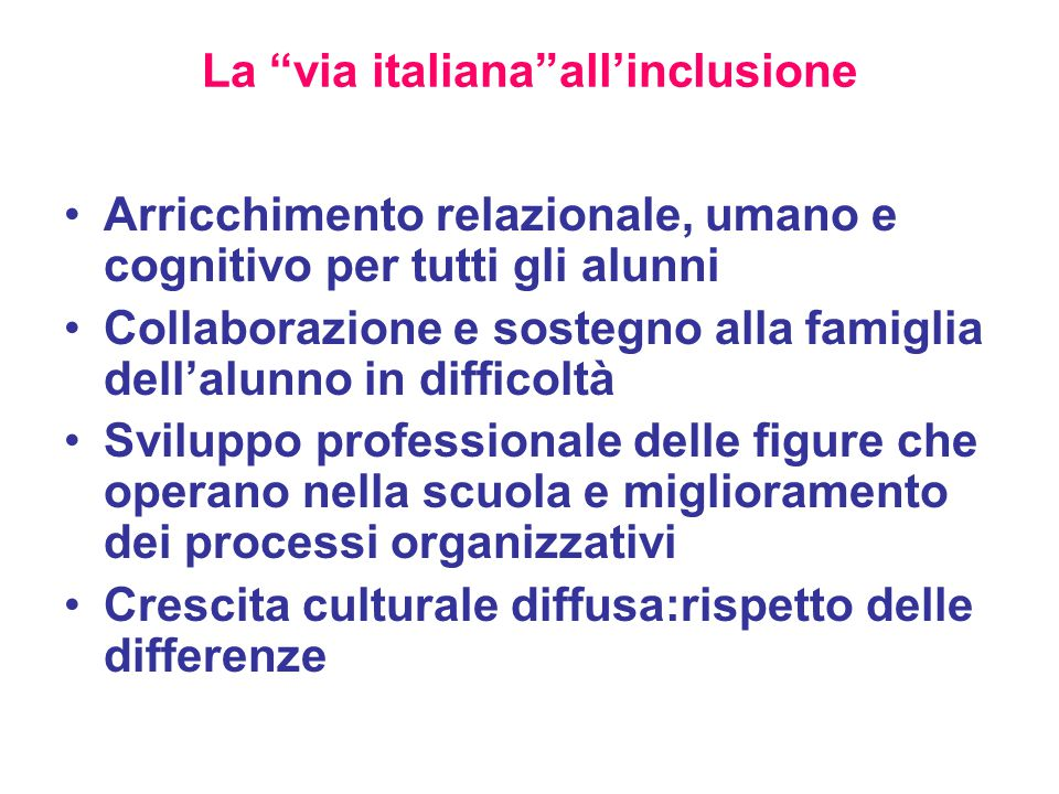 La via italiana all'inclusione