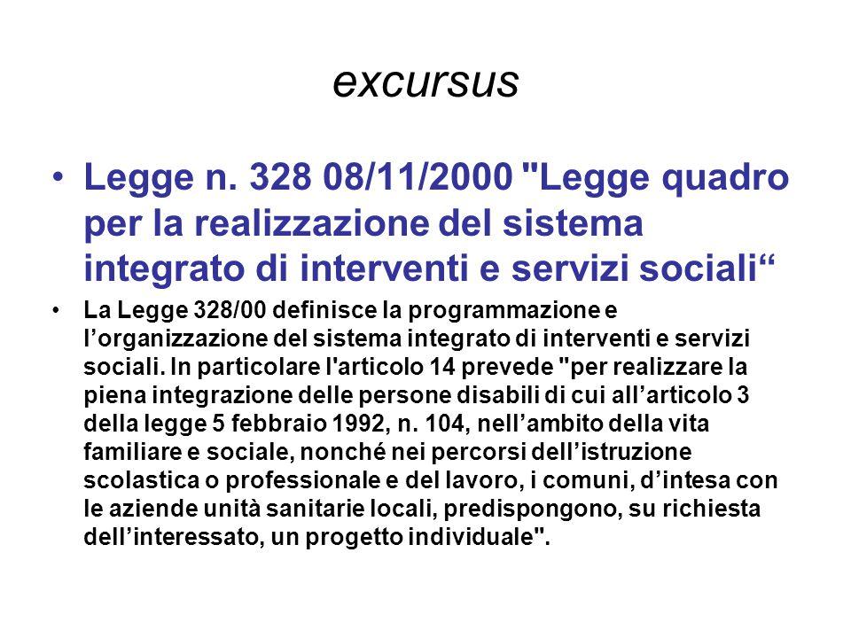 excursus Legge n. 328 08/11/2000 Legge quadro per la realizzazione del sistema integrato di interventi e servizi sociali