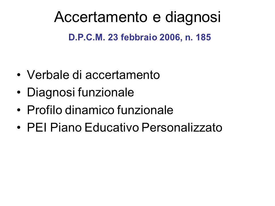 Accertamento e diagnosi D.P.C.M. 23 febbraio 2006, n. 185