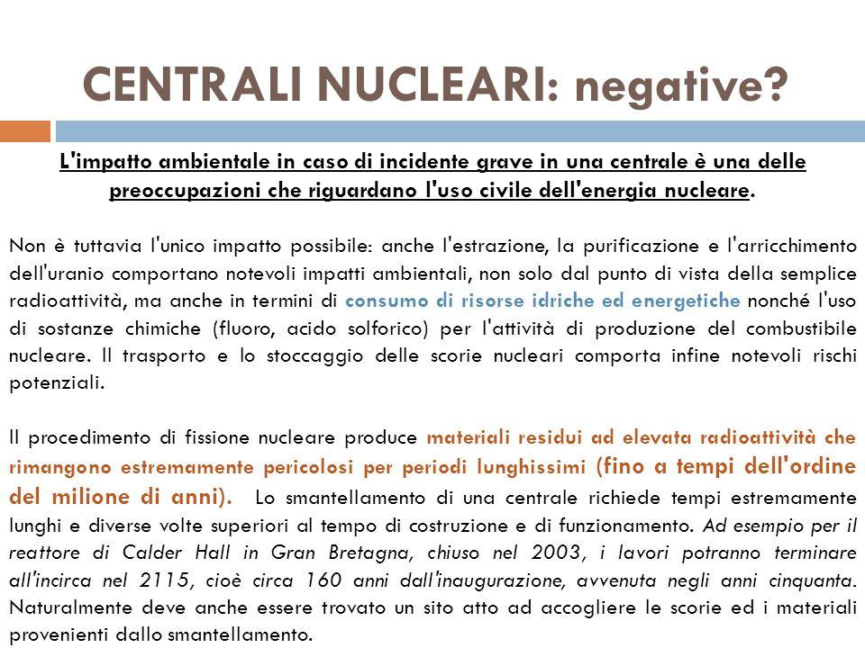 CENTRALI NUCLEARI: negative