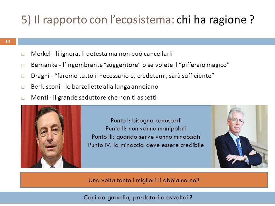 5) Il rapporto con l'ecosistema: chi ha ragione