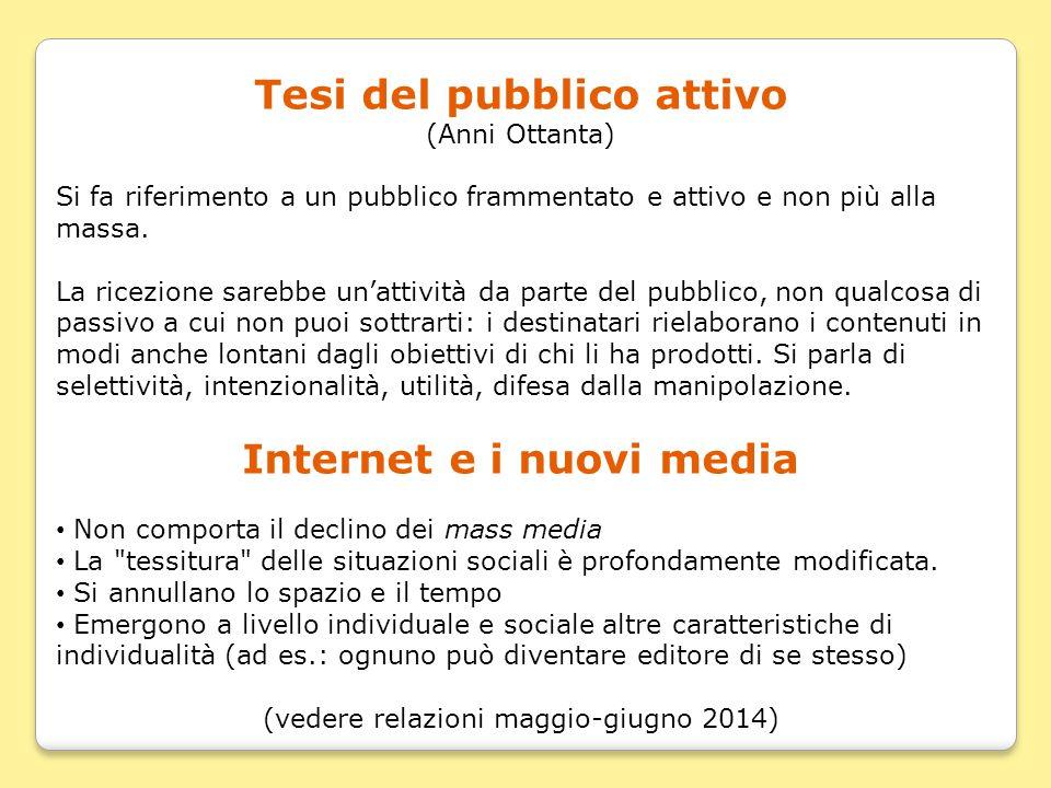 Tesi del pubblico attivo Internet e i nuovi media