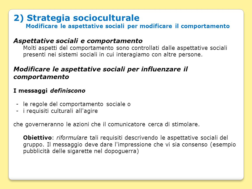 2) Strategia socioculturale