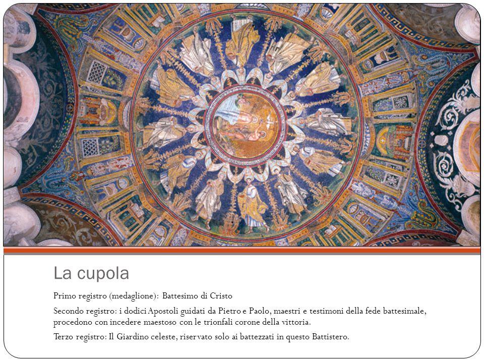 La cupola Primo registro (medaglione): Battesimo di Cristo