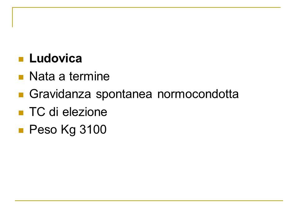 Ludovica Nata a termine Gravidanza spontanea normocondotta TC di elezione Peso Kg 3100
