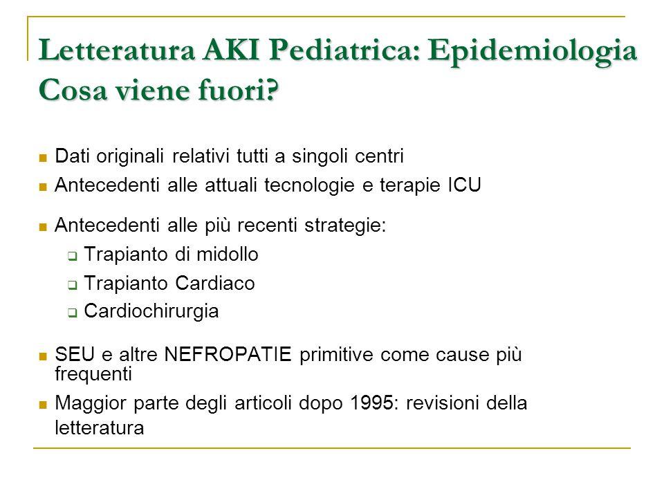 Letteratura AKI Pediatrica: Epidemiologia Cosa viene fuori
