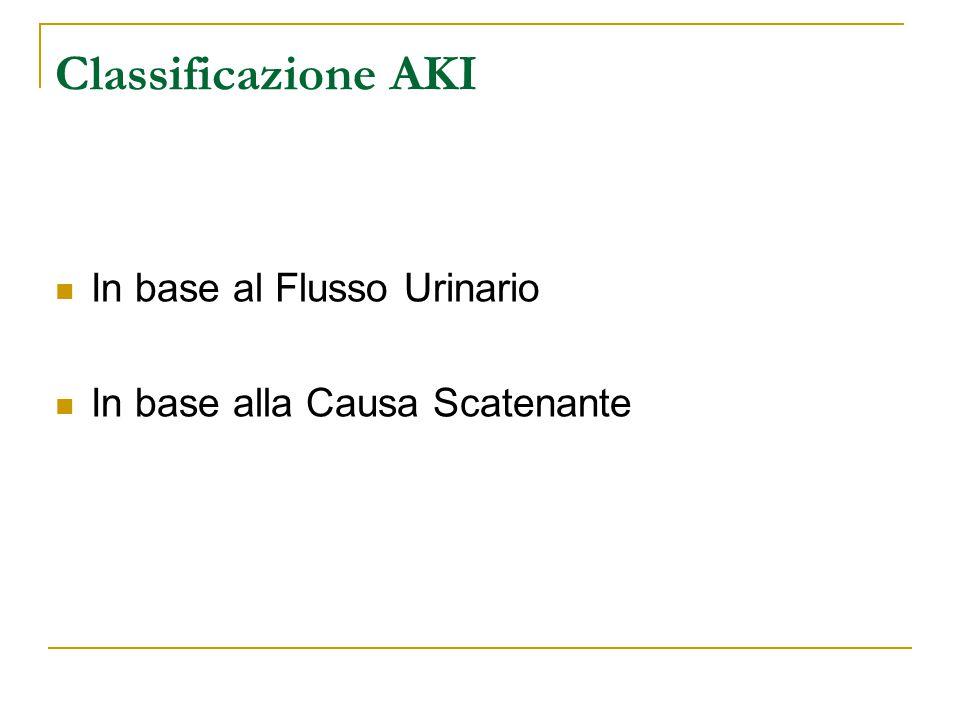 Classificazione AKI In base al Flusso Urinario