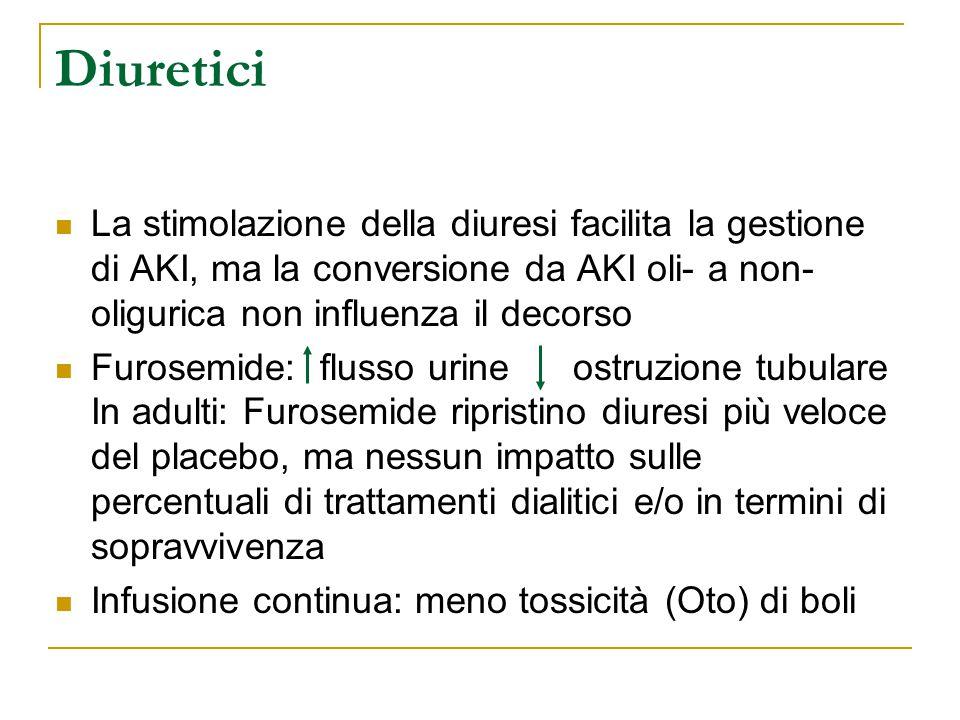 Diuretici La stimolazione della diuresi facilita la gestione di AKI, ma la conversione da AKI oli- a non-oligurica non influenza il decorso.