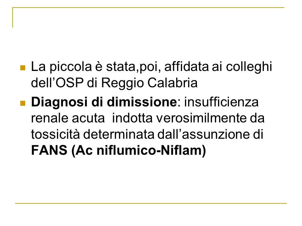 La piccola è stata,poi, affidata ai colleghi dell'OSP di Reggio Calabria