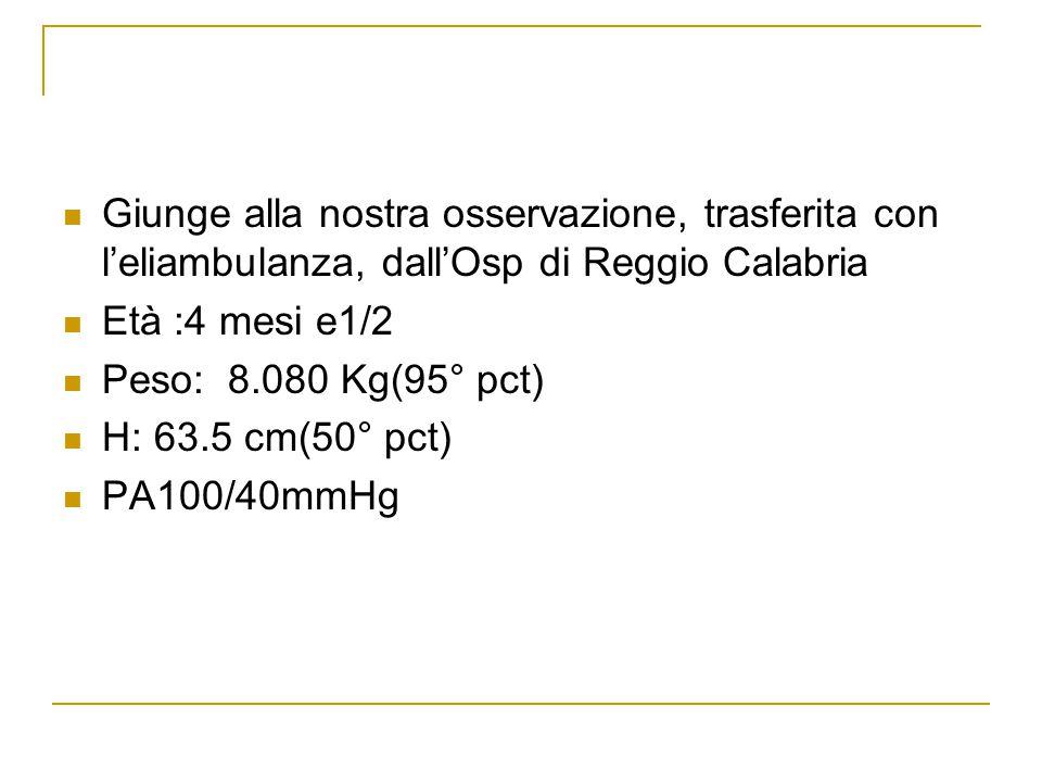 Giunge alla nostra osservazione, trasferita con l'eliambulanza, dall'Osp di Reggio Calabria