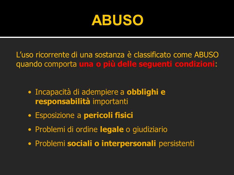 ABUSO L'uso ricorrente di una sostanza è classificato come ABUSO quando comporta una o più delle seguenti condizioni:
