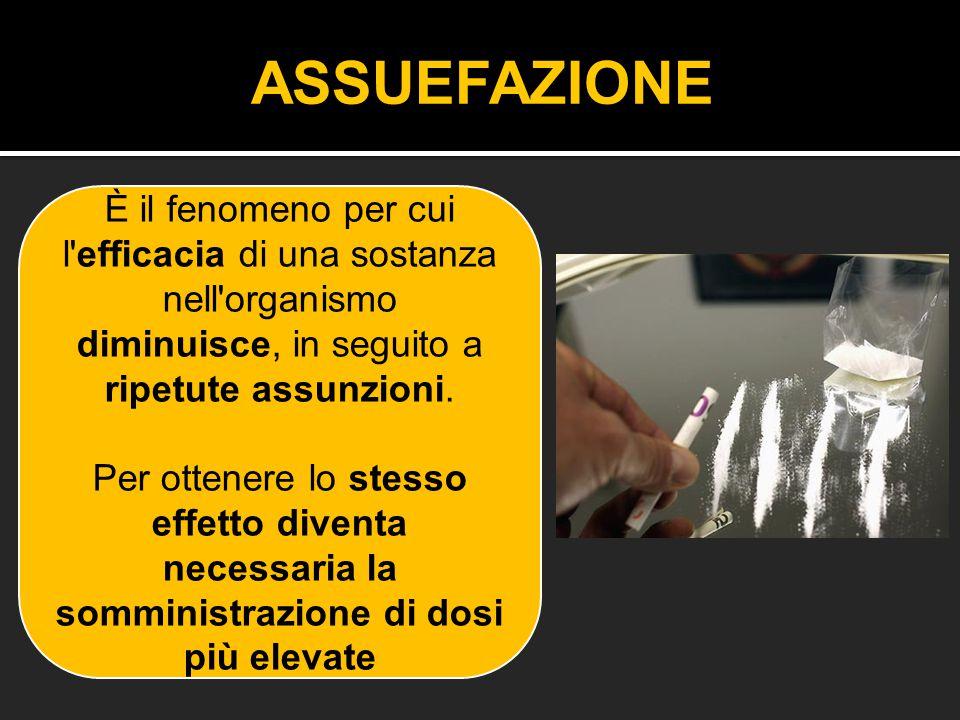 ASSUEFAZIONE È il fenomeno per cui l efficacia di una sostanza nell organismo diminuisce, in seguito a ripetute assunzioni.
