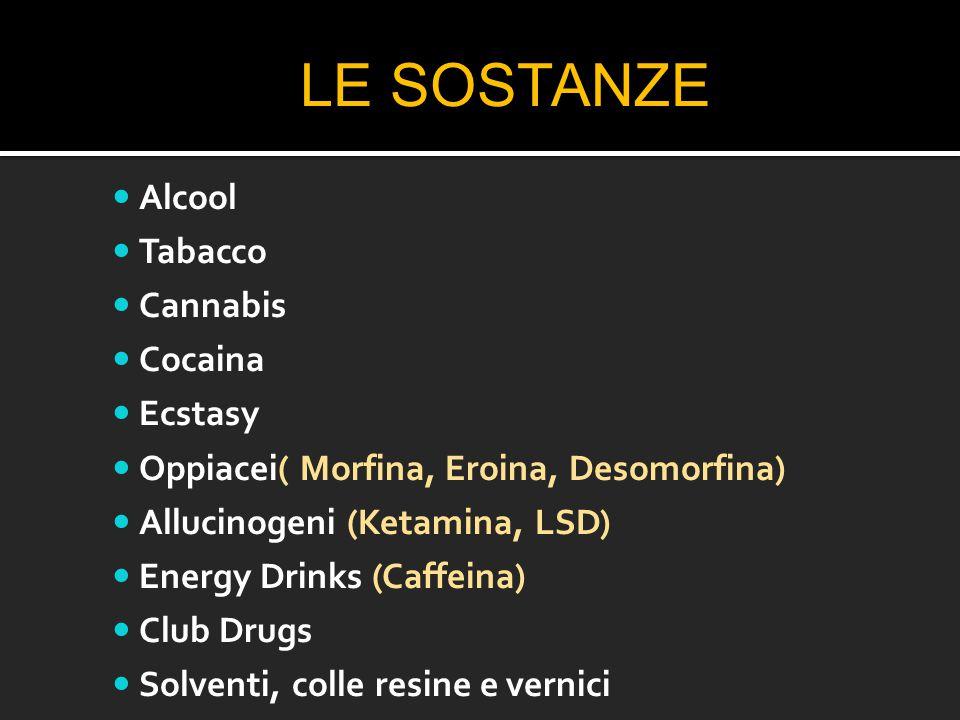 LE SOSTANZE Alcool Tabacco Cannabis Cocaina Ecstasy