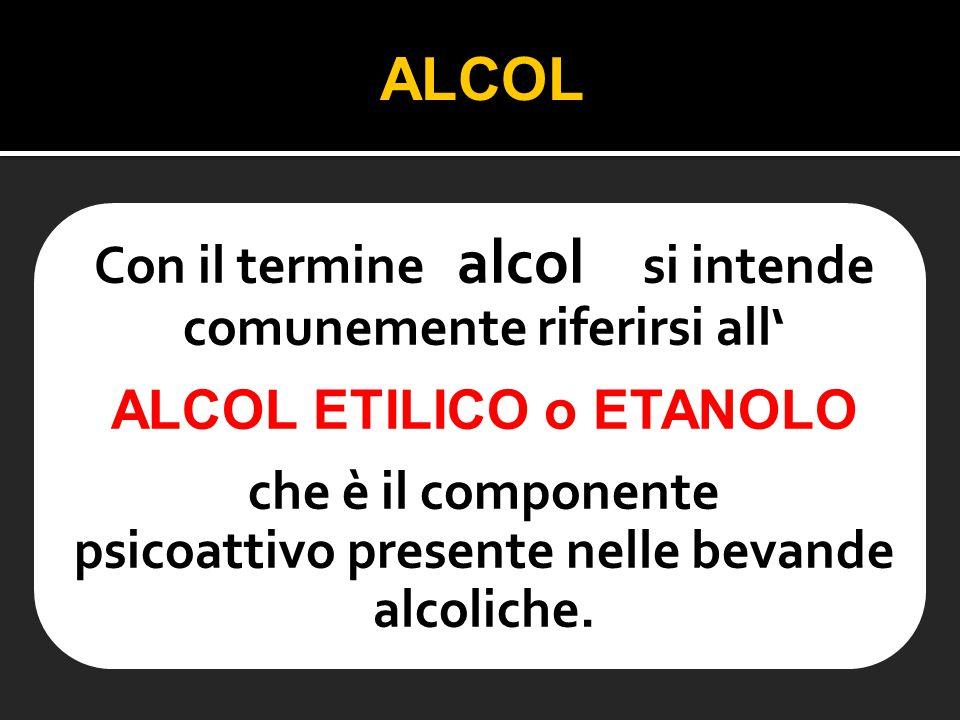 ALCOL Con il termine alcol si intende comunemente riferirsi all'