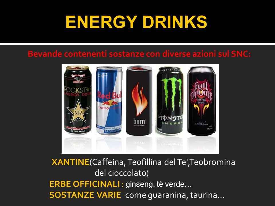ENERGY DRINKS Bevande contenenti sostanze con diverse azioni sul SNC: