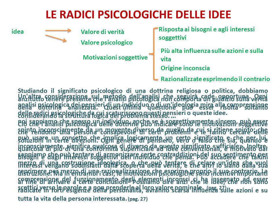 LE RADICI PSICOLOGICHE DELLE IDEE